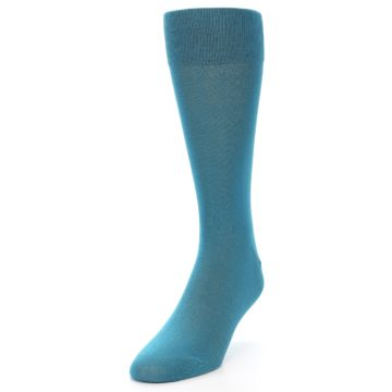 Image of Teal Solid Color Men's Dress Sock (side-2-front-07)