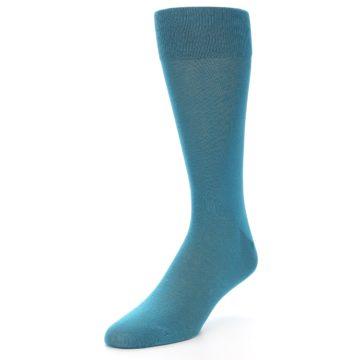 Image of Teal Solid Color Men's Dress Sock (side-2-front-08)