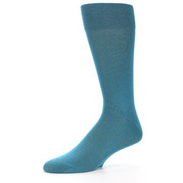 Image of Teal Solid Color Men's Dress Sock (side-2-10)