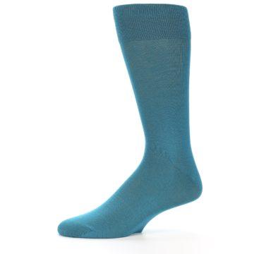 Image of Teal Solid Color Men's Dress Sock (side-2-11)