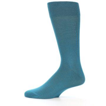 Image of Teal Solid Color Men's Dress Sock (side-2-12)