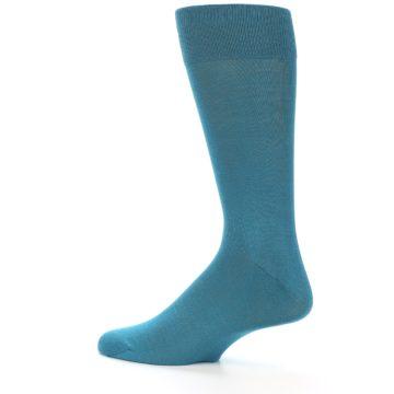 Image of Teal Solid Color Men's Dress Sock (side-2-13)