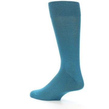 Image of Teal Solid Color Men's Dress Sock (side-2-back-14)