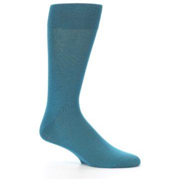 Image of Teal Solid Color Men's Dress Sock (side-1-26)