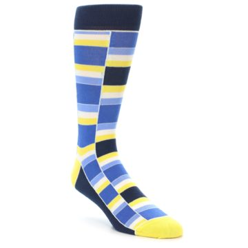 Image of Blues Yellow White Stacked Men's Dress Socks (side-1-front-01)