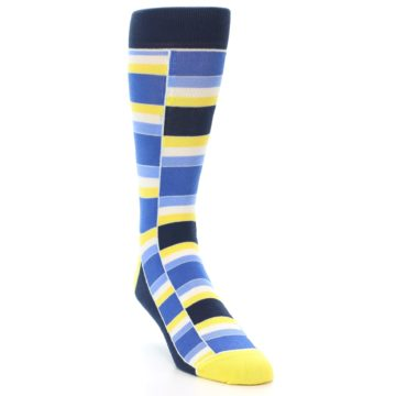 Image of Blues Yellow White Stacked Men's Dress Socks (side-1-front-02)