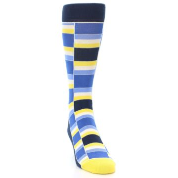 Image of Blues Yellow White Stacked Men's Dress Socks (side-1-front-03)