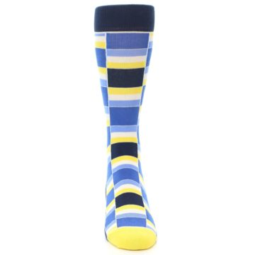 Image of Blues Yellow White Stacked Men's Dress Socks (front-04)