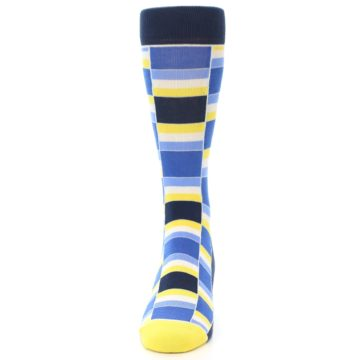 Image of Blues Yellow White Stacked Men's Dress Socks (front-05)