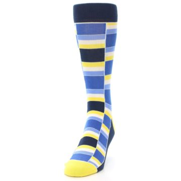 Image of Blues Yellow White Stacked Men's Dress Socks (side-2-front-06)