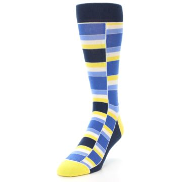Image of Blues Yellow White Stacked Men's Dress Socks (side-2-front-07)