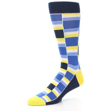Image of Blues Yellow White Stacked Men's Dress Socks (side-2-09)
