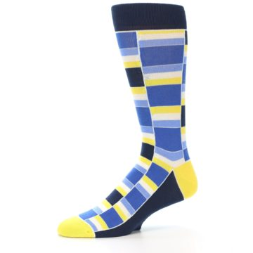 Image of Blues Yellow White Stacked Men's Dress Socks (side-2-10)