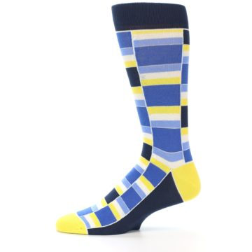 Image of Blues Yellow White Stacked Men's Dress Socks (side-2-11)