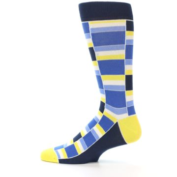Image of Blues Yellow White Stacked Men's Dress Socks (side-2-12)