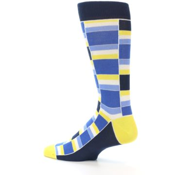 Image of Blues Yellow White Stacked Men's Dress Socks (side-2-13)