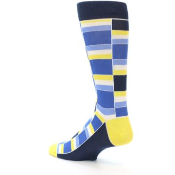 Image of Blues Yellow White Stacked Men's Dress Socks (side-2-back-14)