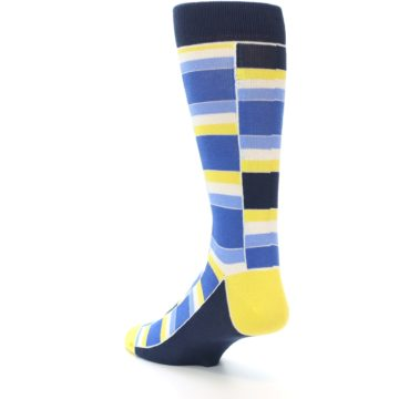 Image of Blues Yellow White Stacked Men's Dress Socks (side-2-back-15)