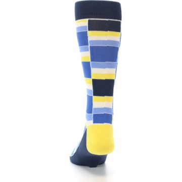 Image of Blues Yellow White Stacked Men's Dress Socks (back-17)