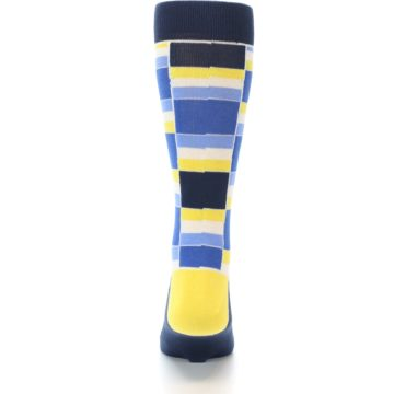 Image of Blues Yellow White Stacked Men's Dress Socks (back-18)