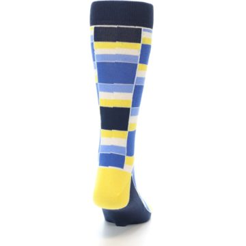 Image of Blues Yellow White Stacked Men's Dress Socks (back-19)