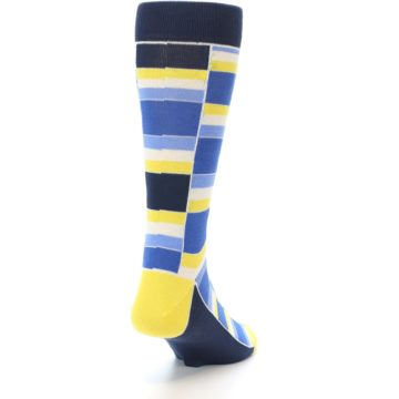 Image of Blues Yellow White Stacked Men's Dress Socks (side-1-back-20)