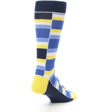 Image of Blues Yellow White Stacked Men's Dress Socks (side-1-back-21)