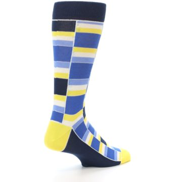 Image of Blues Yellow White Stacked Men's Dress Socks (side-1-back-22)