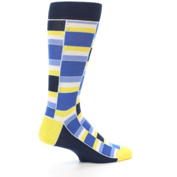 Image of Blues Yellow White Stacked Men's Dress Socks (side-1-23)
