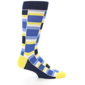 Image of Blues Yellow White Stacked Men's Dress Socks (side-1-24)