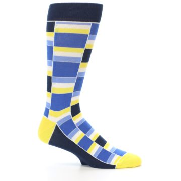 Image of Blues Yellow White Stacked Men's Dress Socks (side-1-25)