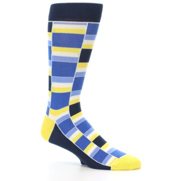 Image of Blues Yellow White Stacked Men's Dress Socks (side-1-26)