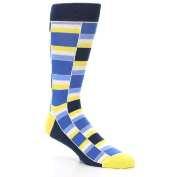 Image of Blues Yellow White Stacked Men's Dress Socks (side-1-27)