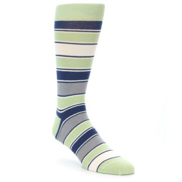 Image of Pistachio Green Stripe Men's Dress Socks (side-1-front-01)