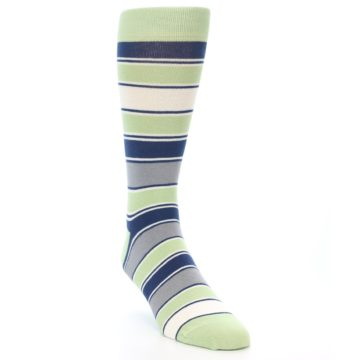 Image of Pistachio Green Stripe Men's Dress Socks (side-1-front-02)