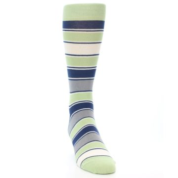 Image of Pistachio Green Stripe Men's Dress Socks (side-1-front-03)