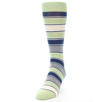 Image of Pistachio Green Stripe Men's Dress Socks (side-2-front-06)