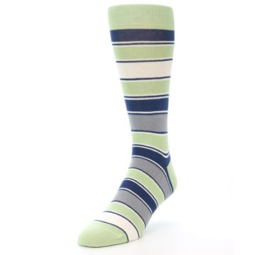 Image of Pistachio Green Stripe Men's Dress Socks (side-2-front-07)