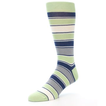 Image of Pistachio Green Stripe Men's Dress Socks (side-2-front-08)