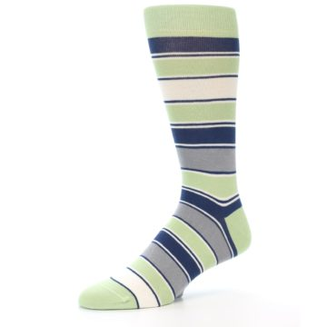 Image of Pistachio Green Stripe Men's Dress Socks (side-2-09)