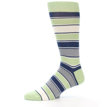 Image of Pistachio Green Stripe Men's Dress Socks (side-2-10)
