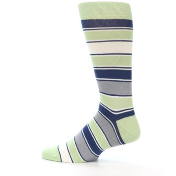 Image of Pistachio Green Stripe Men's Dress Socks (side-2-12)