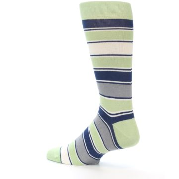 Image of Pistachio Green Stripe Men's Dress Socks (side-2-13)