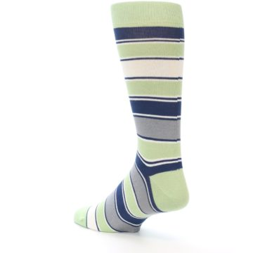 Image of Pistachio Green Stripe Men's Dress Socks (side-2-back-14)