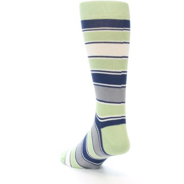 Image of Pistachio Green Stripe Men's Dress Socks (side-2-back-15)