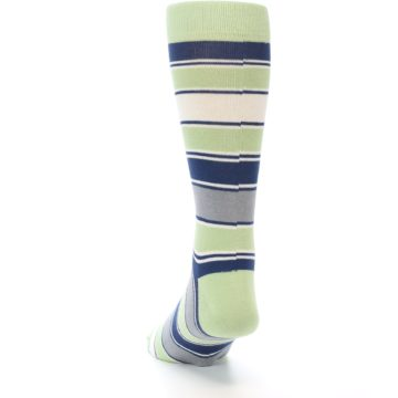 Image of Pistachio Green Stripe Men's Dress Socks (side-2-back-16)