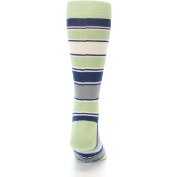Image of Pistachio Green Stripe Men's Dress Socks (back-18)
