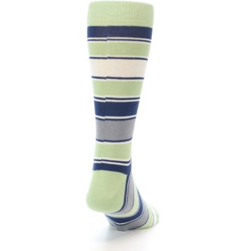 Image of Pistachio Green Stripe Men's Dress Socks (back-19)