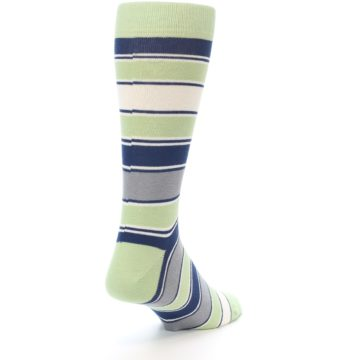 Image of Pistachio Green Stripe Men's Dress Socks (side-1-back-20)