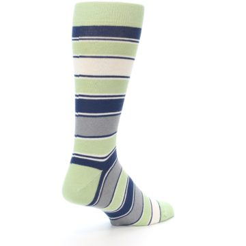 Image of Pistachio Green Stripe Men's Dress Socks (side-1-back-21)